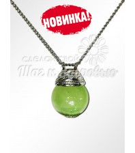Аромакулон из оникса на цепочке в мешочке (зеленый)