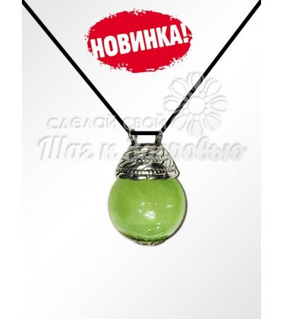 Аромакулон из Оникса на кожаном шнурке (Зеленый)