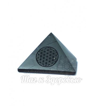 Пирамида из шунгита полированная Цветок Жизни