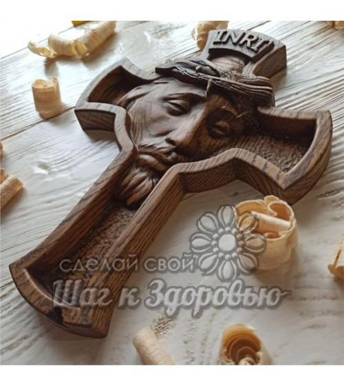 Лик Христа, Икона резная Распятие, из дерева