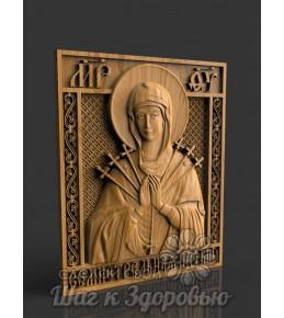"""Чудотворная """"Семистрельная"""" икона Божией Матери, резная из дерева"""