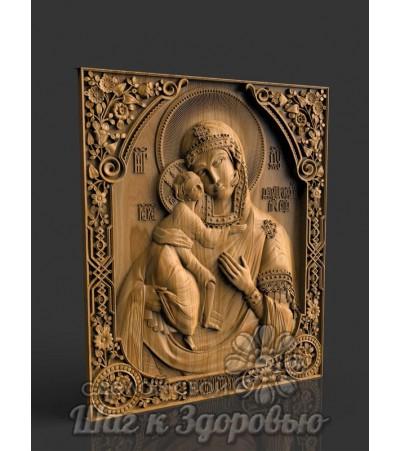 Царица небесная, Феодоровской Божией Матери икона резная из дерева