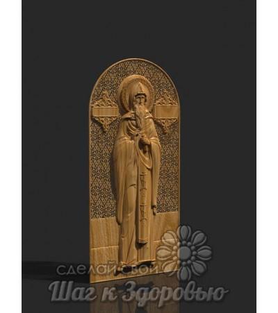 Преподобный Геннадий Костромской, именная, резная Икона из дерева