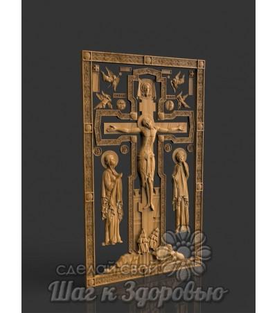 """Икона """"Голгофа"""" Распятие Иисуса Христа (Спаситель), резная из дерева"""