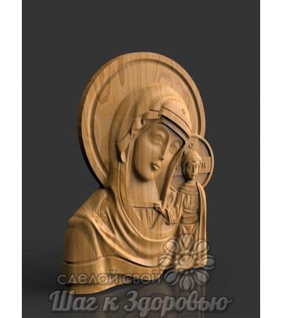 Казанская икона Пресвятой Богородицы Божьей Матери, резная из дерева