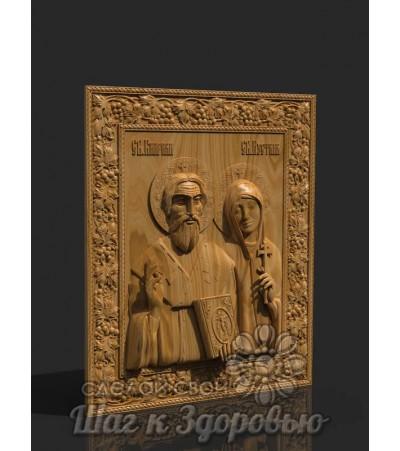 Святые мученики Киприан и Иустина, резная икона из дерева