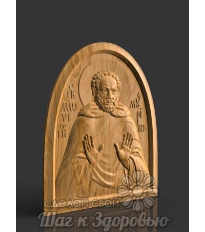 Преподобный Моисей Мурин, резная икона из дерева