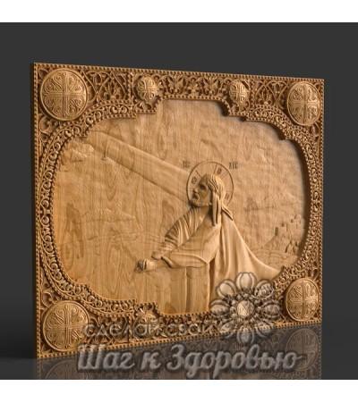 """Икона Спасителя """"Моление о Чаше"""", резная из дерева 2"""
