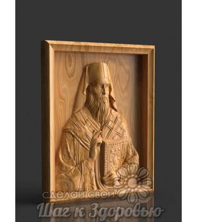 Святитель Нектарий Эгинский с Евангелие, резная икона из дерева