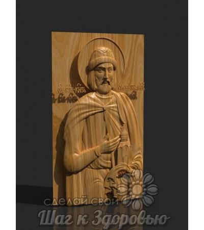 Именная икона Святой князь Олег, резная из дерева