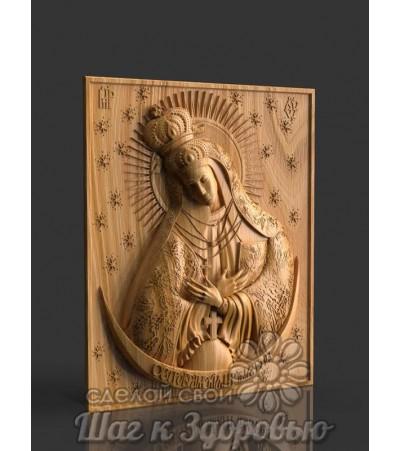 """Богородица Икона Божией матери """"Остробрамская"""", резная из дерева"""