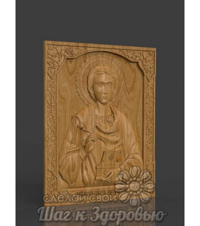 Икона Святой Пантелеймон Целитель, резная из дерева