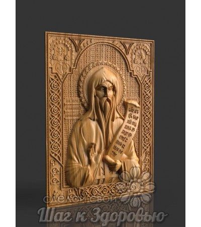 Преподобный Никита Столпник Переславский, икона резная из дерева