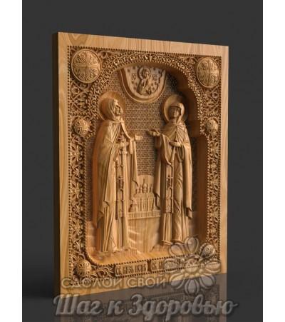 Икона Святые Петр и Феврония, резная из дерева 2