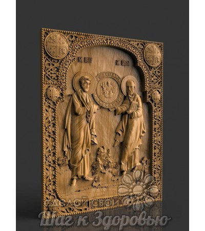 Святые апостолы Петр и Павел, икона резная из дерева