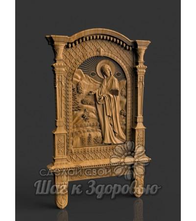 """Пюхтицкая икона Божией Матери """"У источника"""", резная из дерева"""