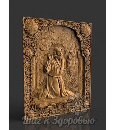 Преподобный Святой Серафим Саровский, Икона резная из дерева
