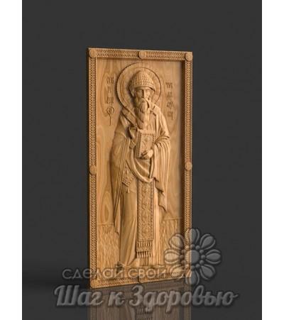 Святой Спиридон Тримифунский резная икона на дереве 2
