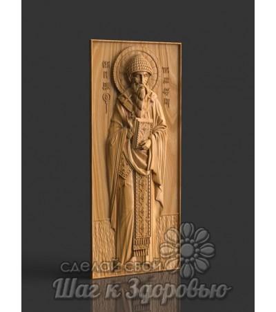Святой Спиридон Тримифунский резная икона на дереве 3