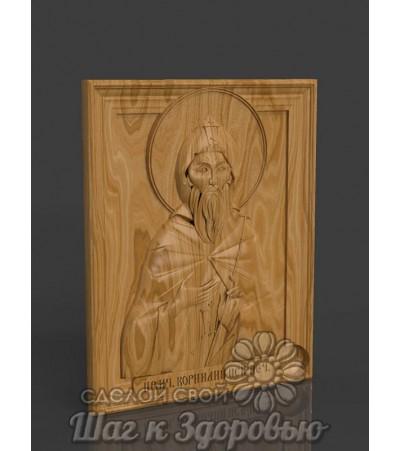Святой Корнилий преподобномученик, Икона резная из дерева