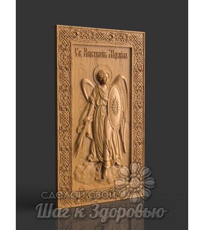"""Чудотворная икона Святой """" Архистратиг Михаил """", резная из дерева"""