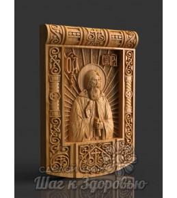 Чудотворець Святий Сергій Радонезький, Ікона, різьблена з дерева