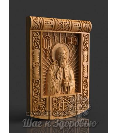Чудотворец Святой Сергий Радонежский, Икона резная из дерева