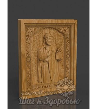Икона Святого благоверного князя Ярослава Мудрого, резная из дерева