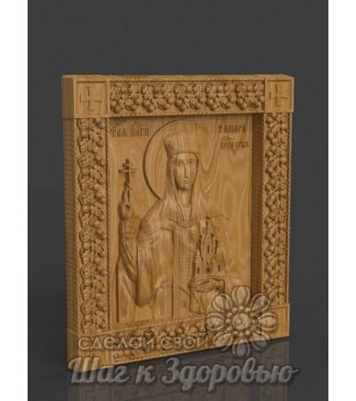 Икона Святой благоверной царицы Тамары Великой, резная из дерева