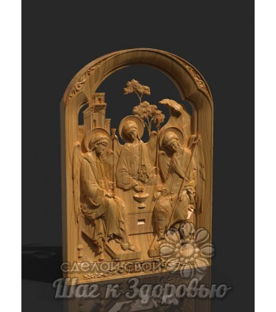 """Икона """"Святая Троица"""", резная из дерева"""