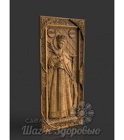 """Святая великомученица """"Екатерина"""", икона резная из дерева"""