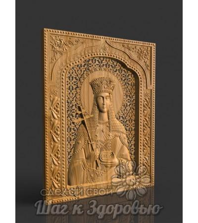 Небесная Защитница семьи и отношений Святая Елена Равноапостольная, икона резная из дерева (1)