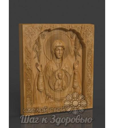 «Знамение» икона Божией Матери, резная из дерева