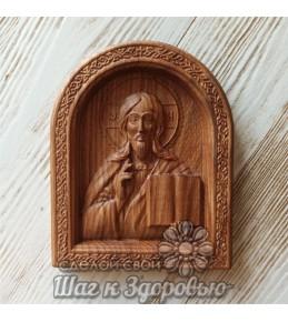 Икона Господь Вседержитель на престоле, резная из дерева