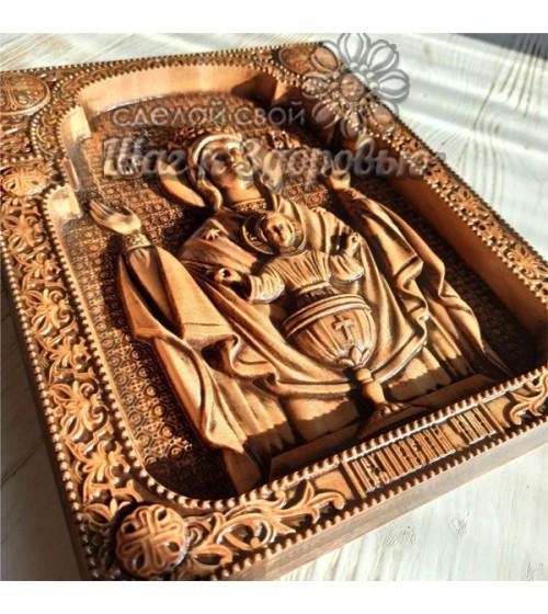 """""""Неупиваемая чаша"""" икона Божией Матери, резная из дерева"""