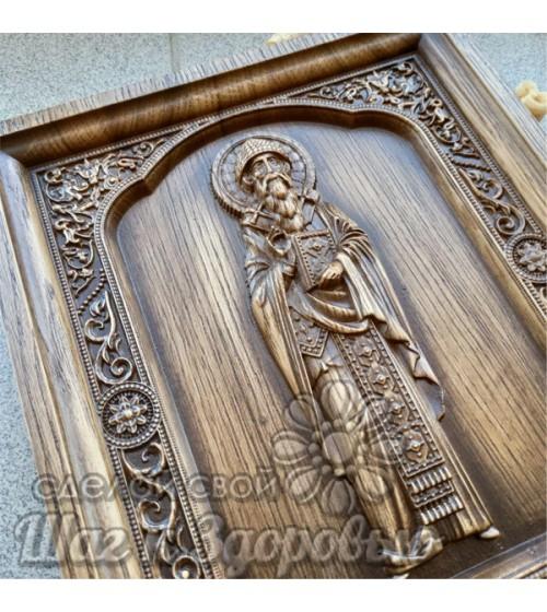 Святой Спиридон Тримифунский резная икона на дереве