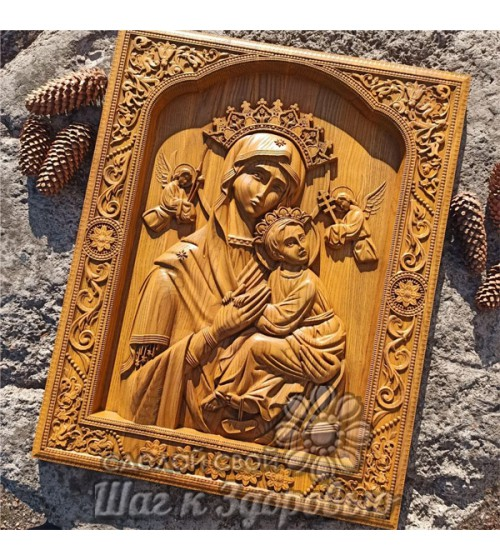 """Страстная икона """"Богородицы"""" Божией Матери, резная из дерева"""