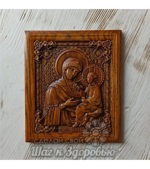 Тихвинская икона Пресвятой Богородицы (Божией Матери), резная из дерева