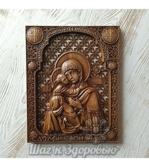 Владимирская икона Божией Матери, резная из дерева. (2)