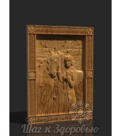"""""""Гармония"""" картина из дерева резная, женщина с лошадью в поле"""