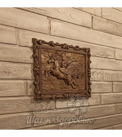 """Картина резная из дерева. """"Единорог"""""""